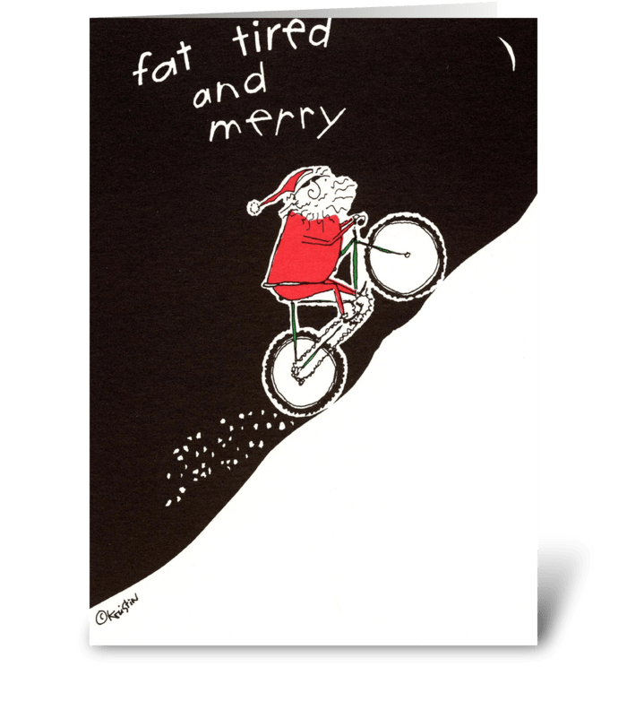 fat tired and merry greeting card