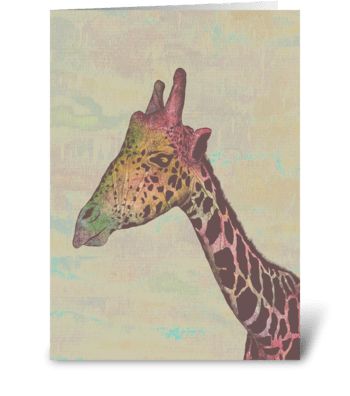 Technicolor Giraffe greeting card