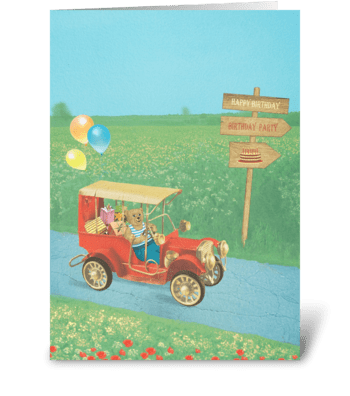Bear in a vintage car greeting card