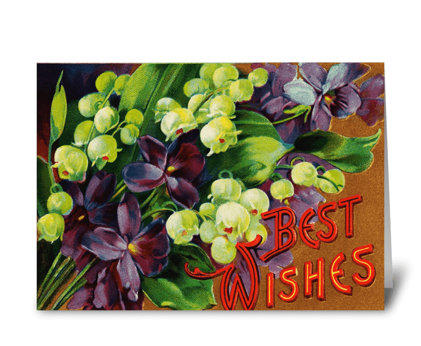 "Violets & Lily of the Valley ""Best Wishe greeting card"