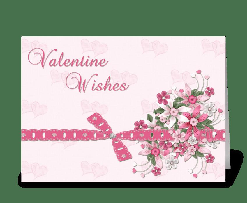 Pink Valentine Flowers greeting card