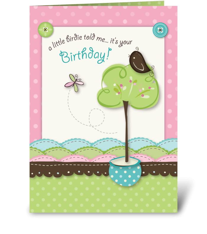 Little Birdie Birthday greeting card
