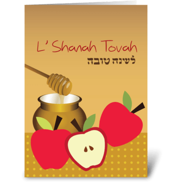 Sweet honey with apples greeting card