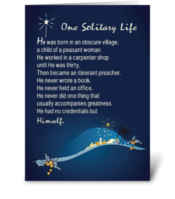 One Solitary Life Religious Christmas greeting card