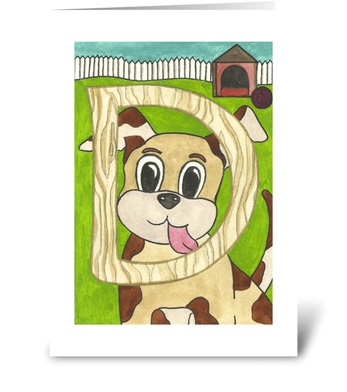 D for Dog greeting card