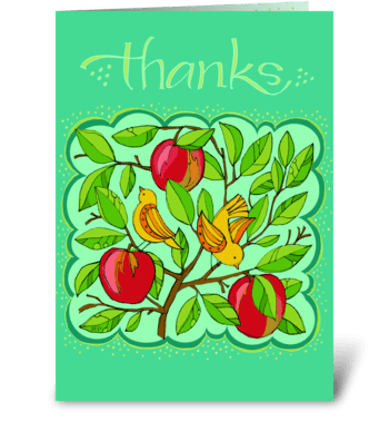 Apple Bird Thank You greeting card