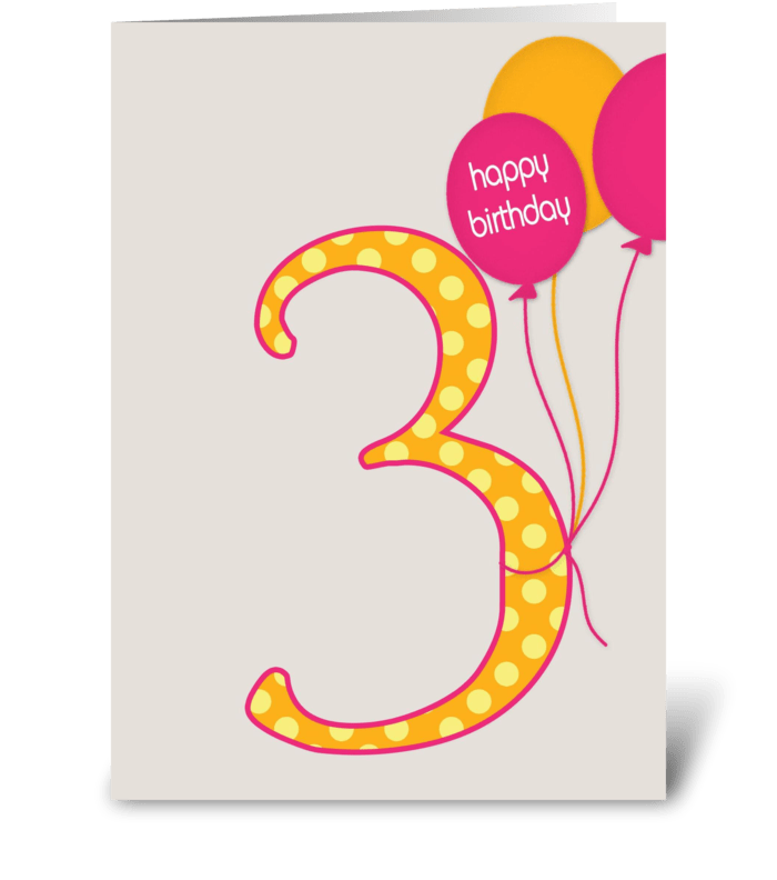 Third Birthday greeting card