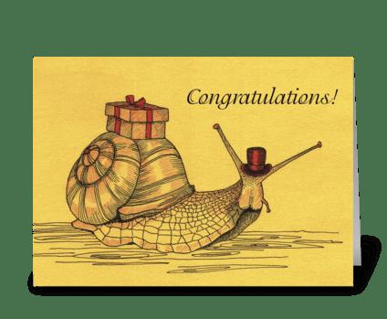 Congratulations_escargot-cargo greeting card