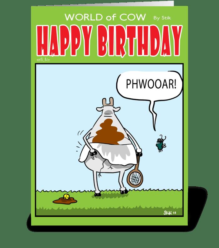 Cow Tennis Player Birthday Card greeting card
