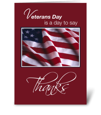Veterans Day Thanks with American Flag greeting card