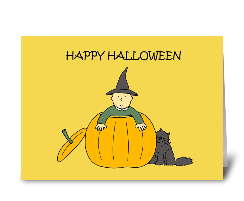 Happy Halloween Baby and black cat. greeting card