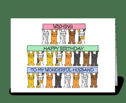 Happy Birthday Husband cute cats. greeting card