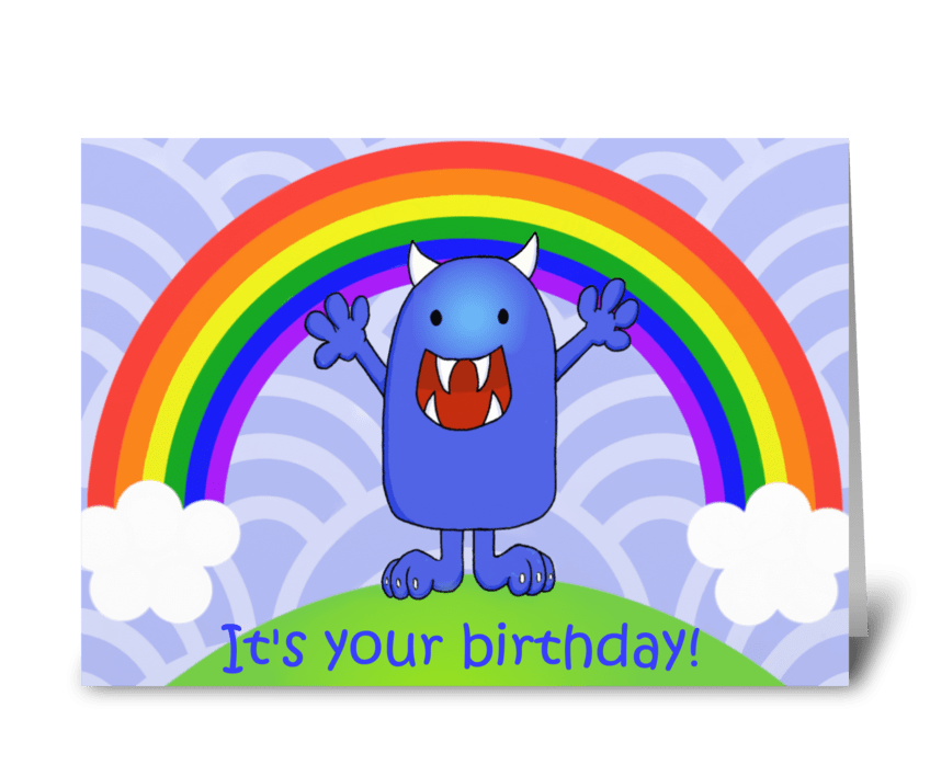 Happy Monster Kids' Birthday greeting card
