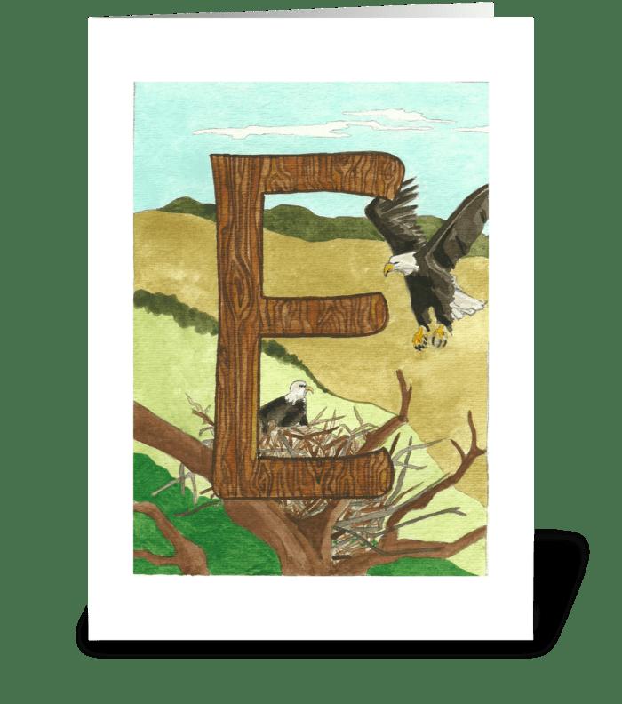 E for Eagle greeting card