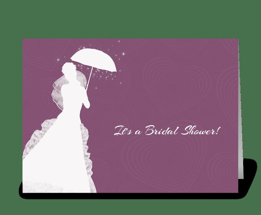 Bride silhouette purple hearts shower send this greeting card bride silhouette purple hearts shower greeting card m4hsunfo