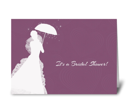 Bride Silhouette, Purple Hearts, Shower  greeting card