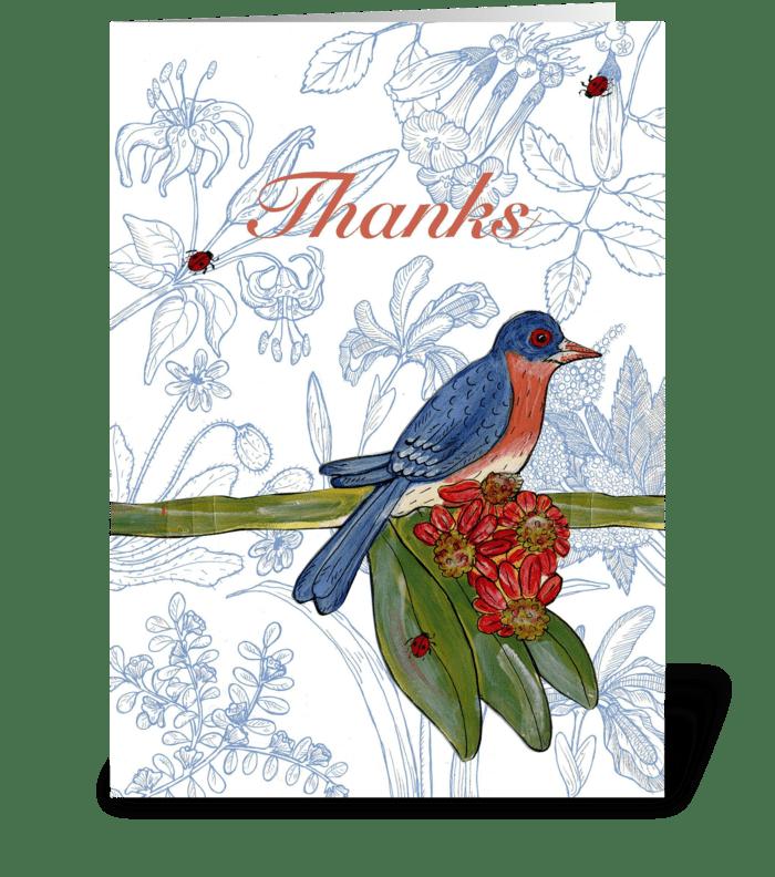 bluebird thank you greeting card