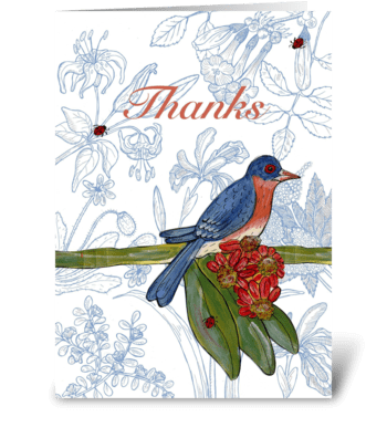 bluebird thank you greeting card
