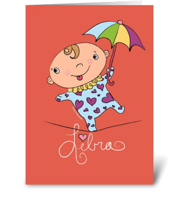 Libra Baby greeting card