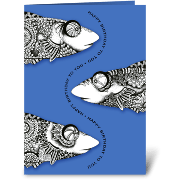 Bug-Eyed Fish Birthday greeting card