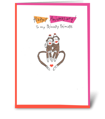 Primary Primate - Anniversary greeting card