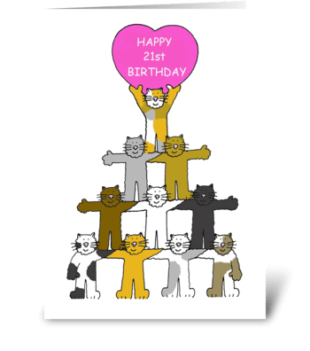 Happy 21st Birthday cute cats. greeting card