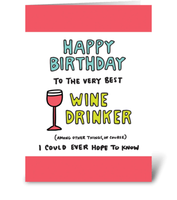 Happy Birthday Wine Drinker greeting card