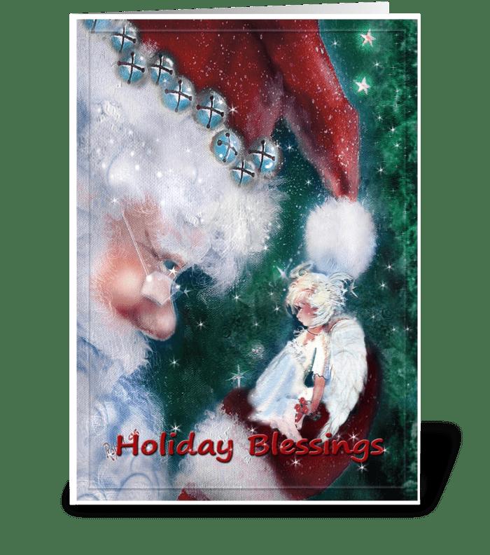 Santa's Holiday Angel greeting card
