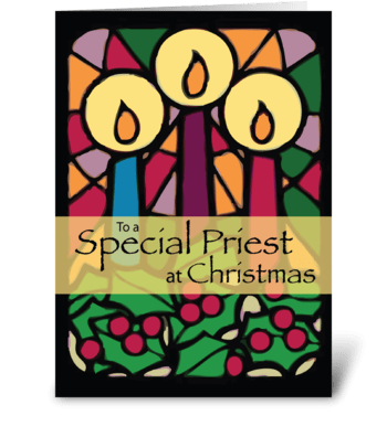 Priest Christmas Candles greeting card