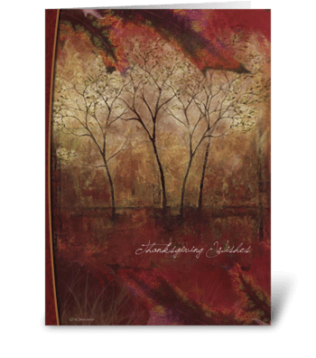 Painted Fall Trees Thanksgiving Card greeting card