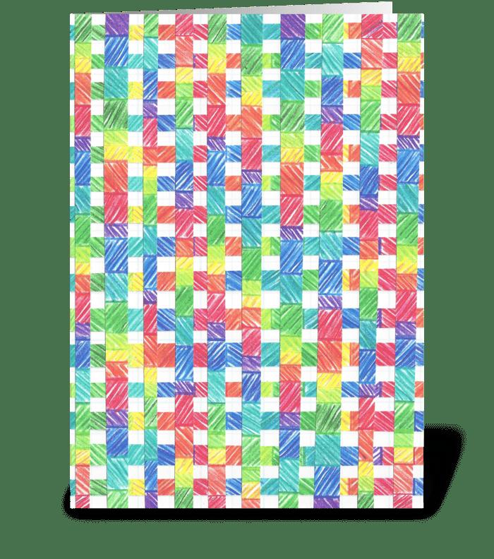 BASKET WEAVE RAINBOW greeting card