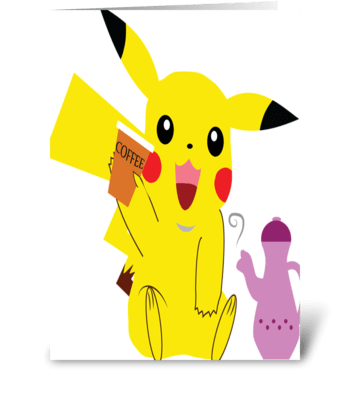 pikachu and coffee greeting card