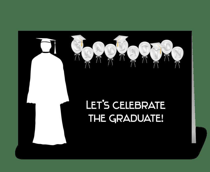 Grad, Male, Balloons, Black & White greeting card
