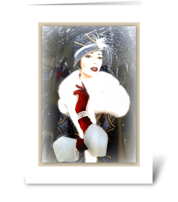 Art Deco Lady with hat greeting card