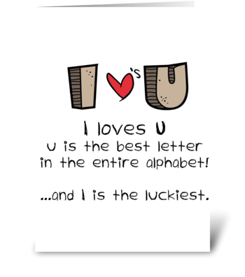 I loves U greeting card
