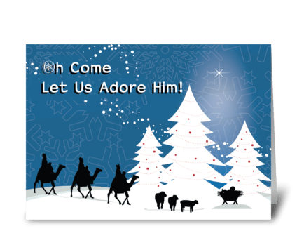 Christmas Manger Scene, Wise Men Star greeting card