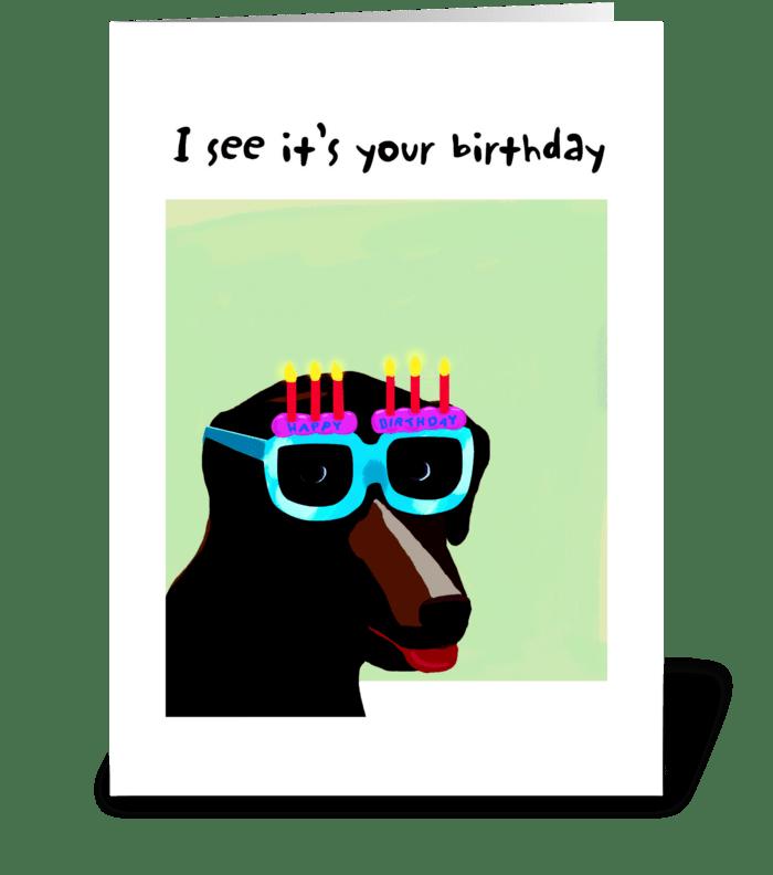 Lab Birthday Glasses Card greeting card