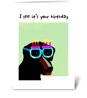 Lab Birthday Glasses Card greeting card