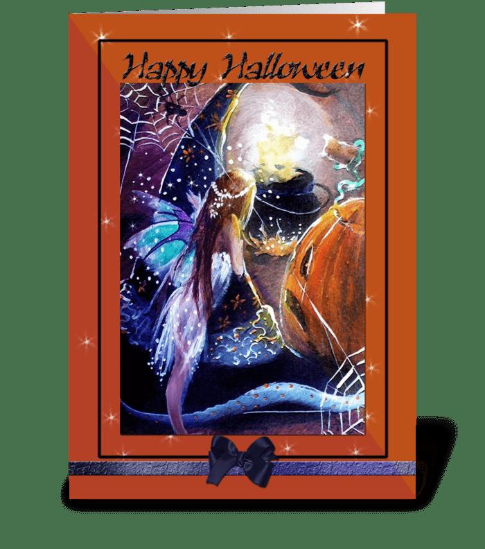 A fairy's Festive Halloween greeting card
