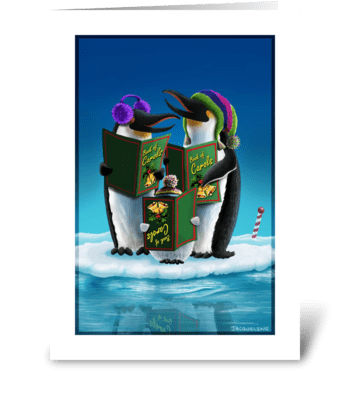 Caroling in the North Pole greeting card