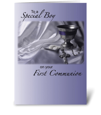 Boy First Communion, Blue greeting card
