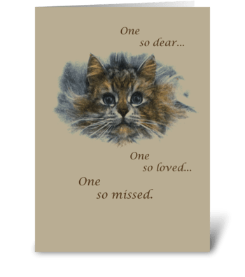Cat Sketch Pet Sympathy greeting card