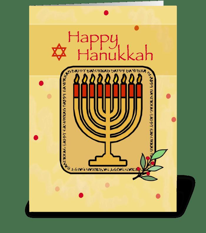 Red and Gold Menorah on Hanukkah greeting card