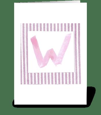 W - Baby Girl greeting card