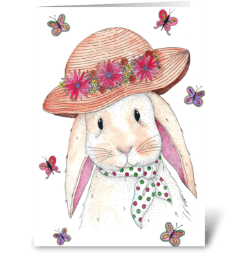 Spring Bunny Rabbit greeting card