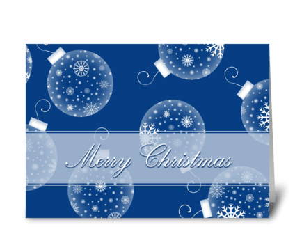 Merry Christmas Blue Snow Decorations greeting card
