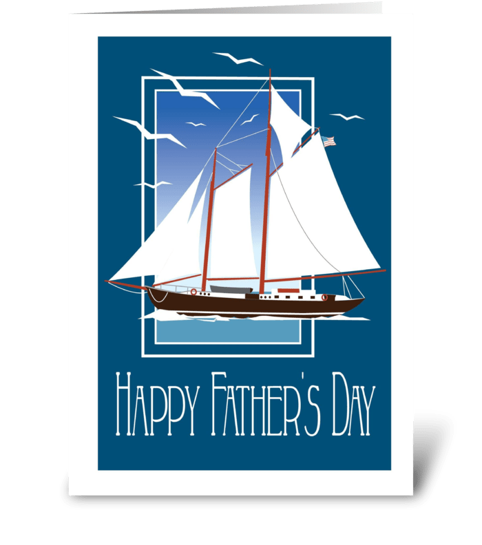 Vintage Schooner  greeting card