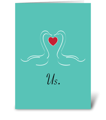 Kissing swans greeting card