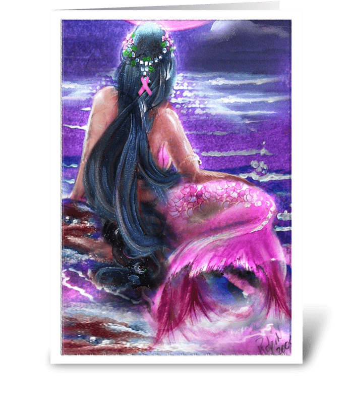 Survivor Mermaid in Pink greeting card