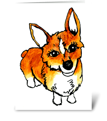 C is for Cute Corgi greeting card